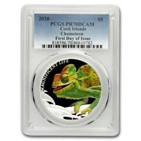 2020 Cook Islands 1 oz Silver Chameleon PR-70 PCGS (FDI)