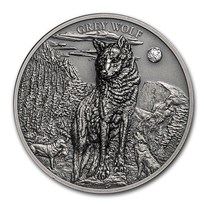 2020 Cook Islands 1 oz Silver High Relief Animals (Grey Wolf)