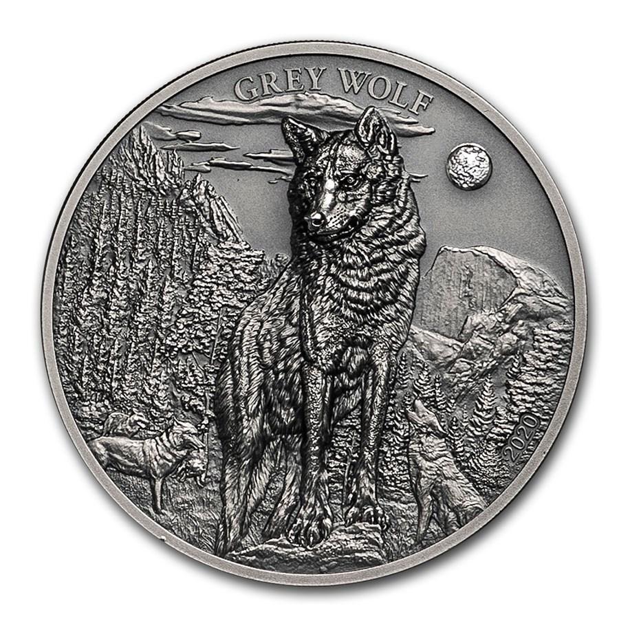 2020 Cook Islands 1 oz Silver High Relief Animals (Grey Wolf)