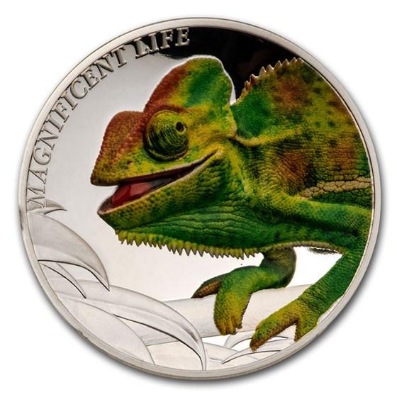 2020 Cook Islands 1 oz Silver Magnificent Life: Chameleon