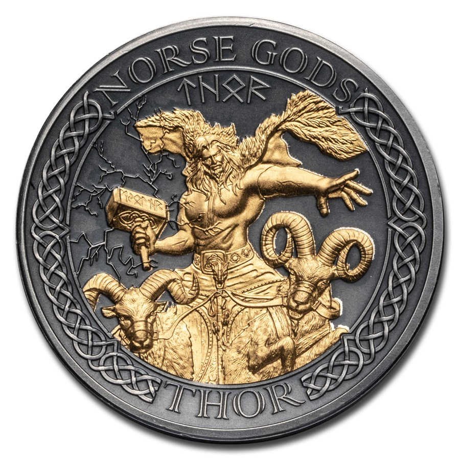 2020 Cook Islands 2 oz Silver High Relief Norse Gods: Thor