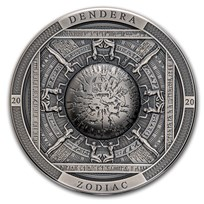 2020 Cook Islands 3 oz Antique Silver Dendera Zodiac Egypt