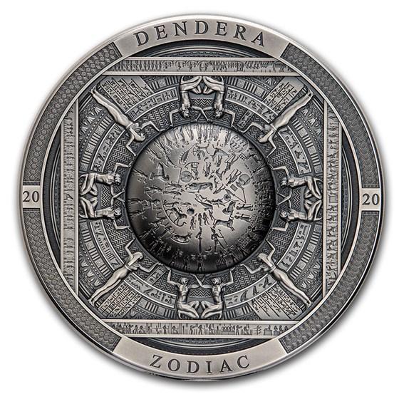 2020 Cook Islands 3 oz Antique Silver Dendera Zodiac Egypt