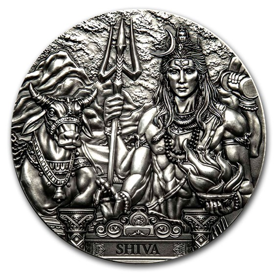 2020 Cook Islands 3 oz Silver Antique Gods of the World (Shiva)