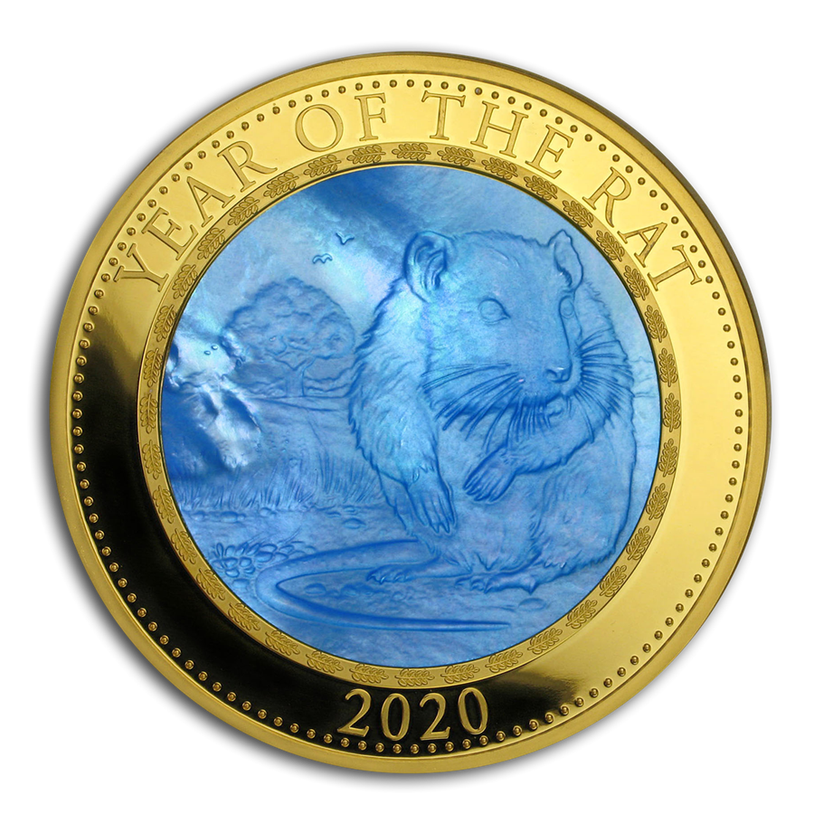 2020 Cook Islands 5 oz Gold Mother of Pearl Year of the Rat