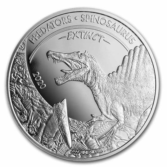 2020 Dem. Rep.of Congo 1 oz Silver Extinct Predators Spinosaurus