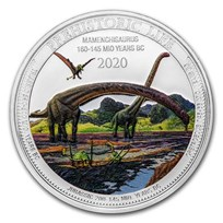 2020 Dem. Rep. of Congo 1 oz Silver Mamenchisaurus Colorized BU