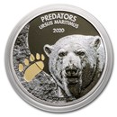 2020 Dem. Republic of Congo 1 oz Silver Polar Bear w/Color