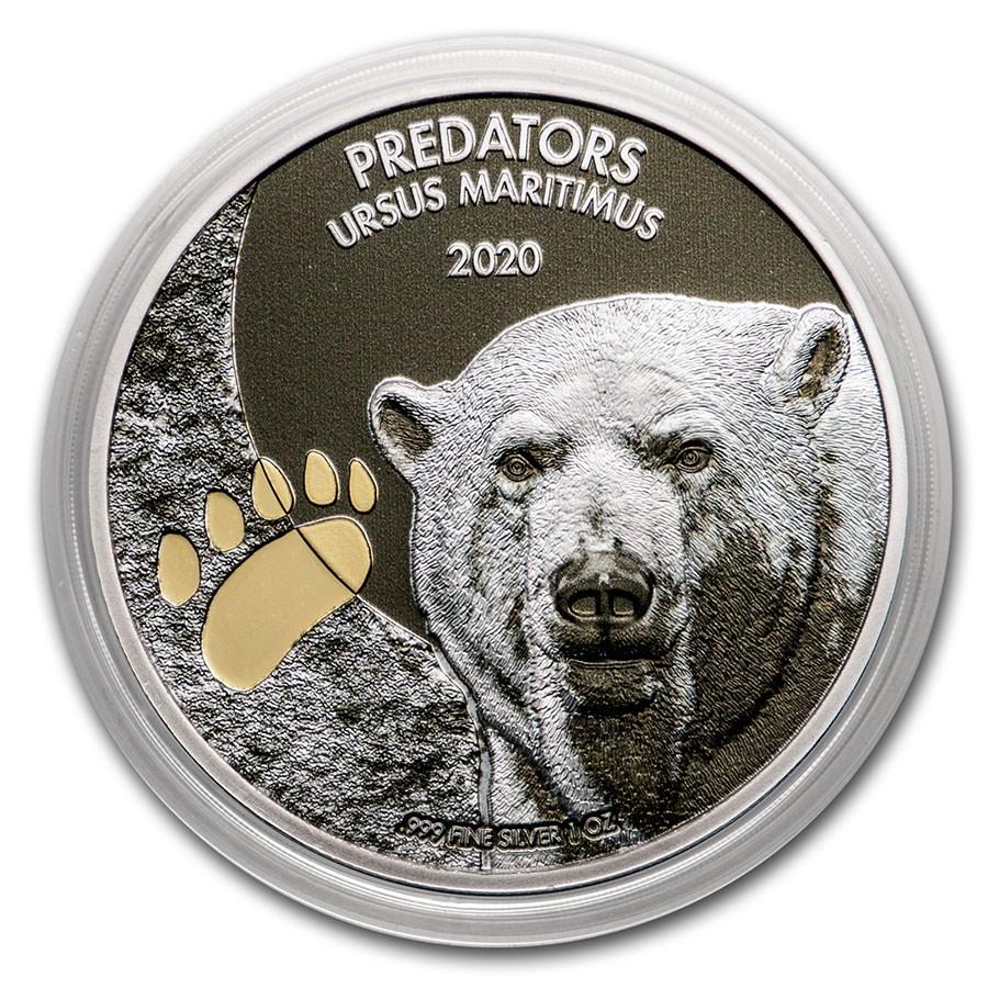 2020 Dem. Republic of Congo 1 oz Silver Polar Bear w/Color