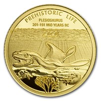 2020 Democratic Rep. of Congo 1/2 gram Gold Plesiosaurus BU