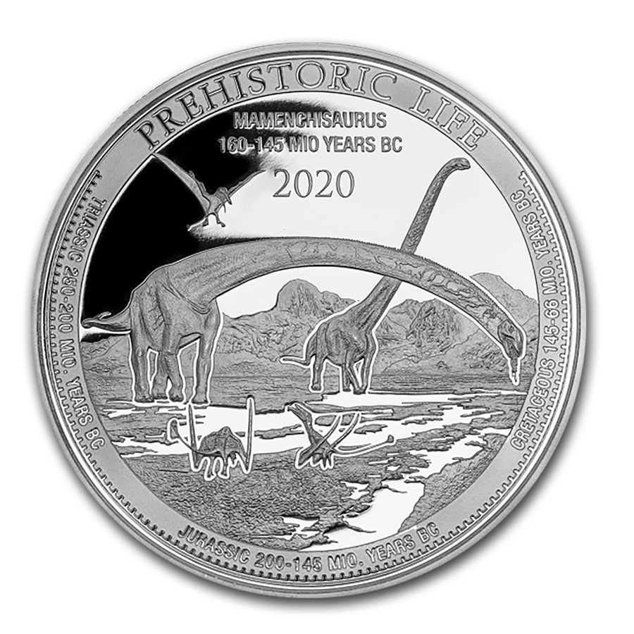 2020 Democratic Rep of Congo 1 oz Silver Plesiosaurus BU w// Mint Capsule