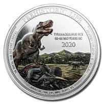2020 Democratic Rep. of Congo 1 oz Silver T- Rex Colorized BU