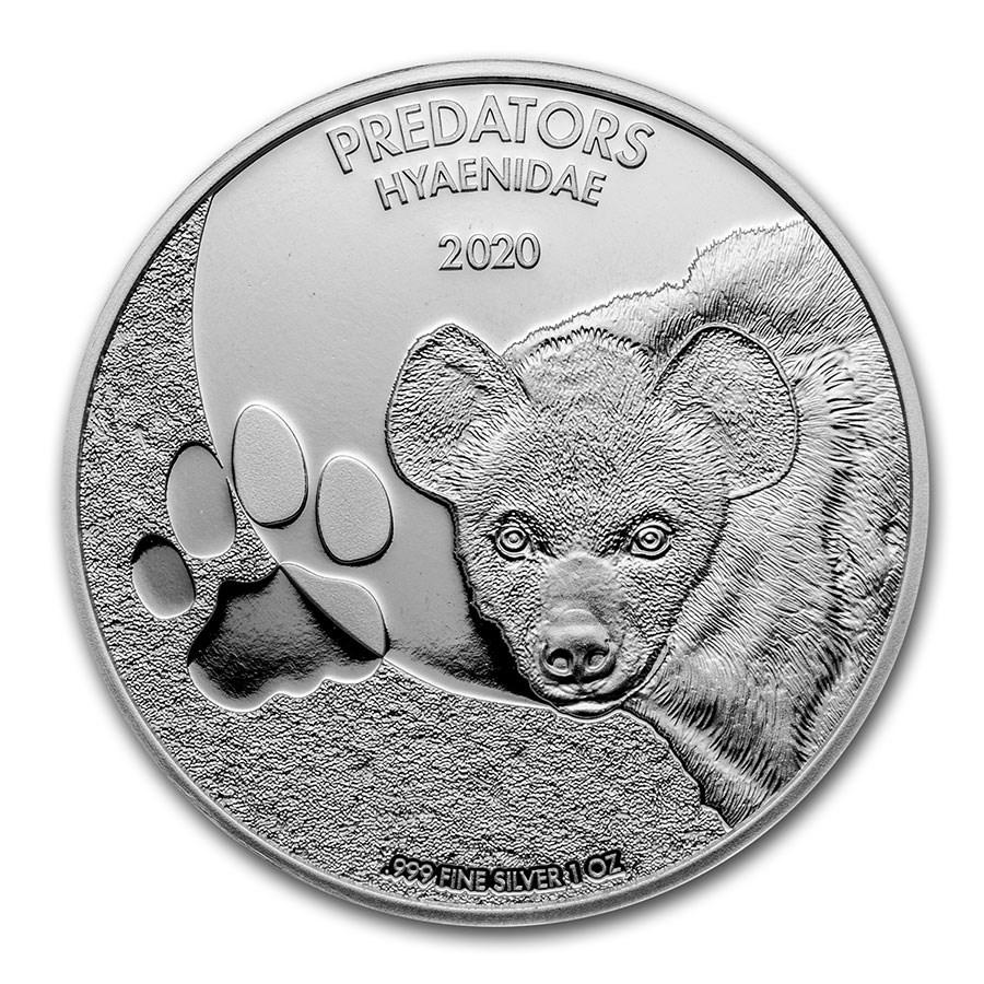 2020 Democratic Republic of Congo 1 oz Silver Hyena BU