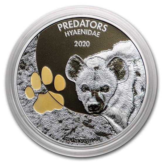 2020 Democratic Republic of Congo 1 oz Silver Hyena w/Color