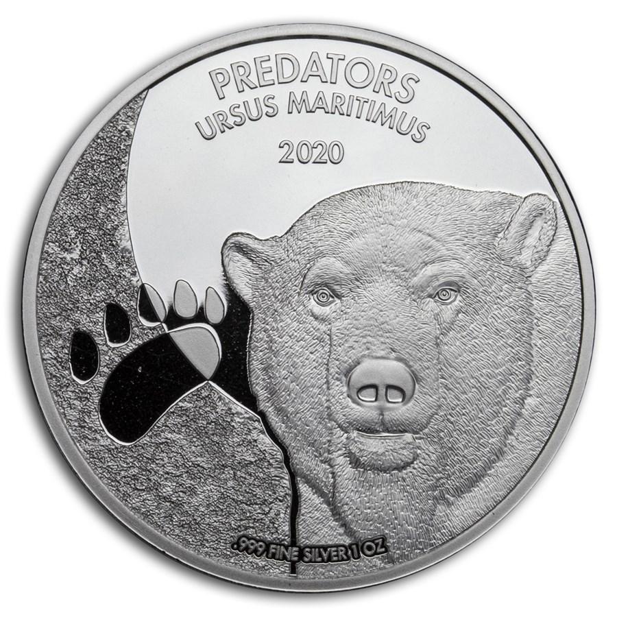 2020 Democratic Republic of Congo 1 oz Silver Polar Bear BU