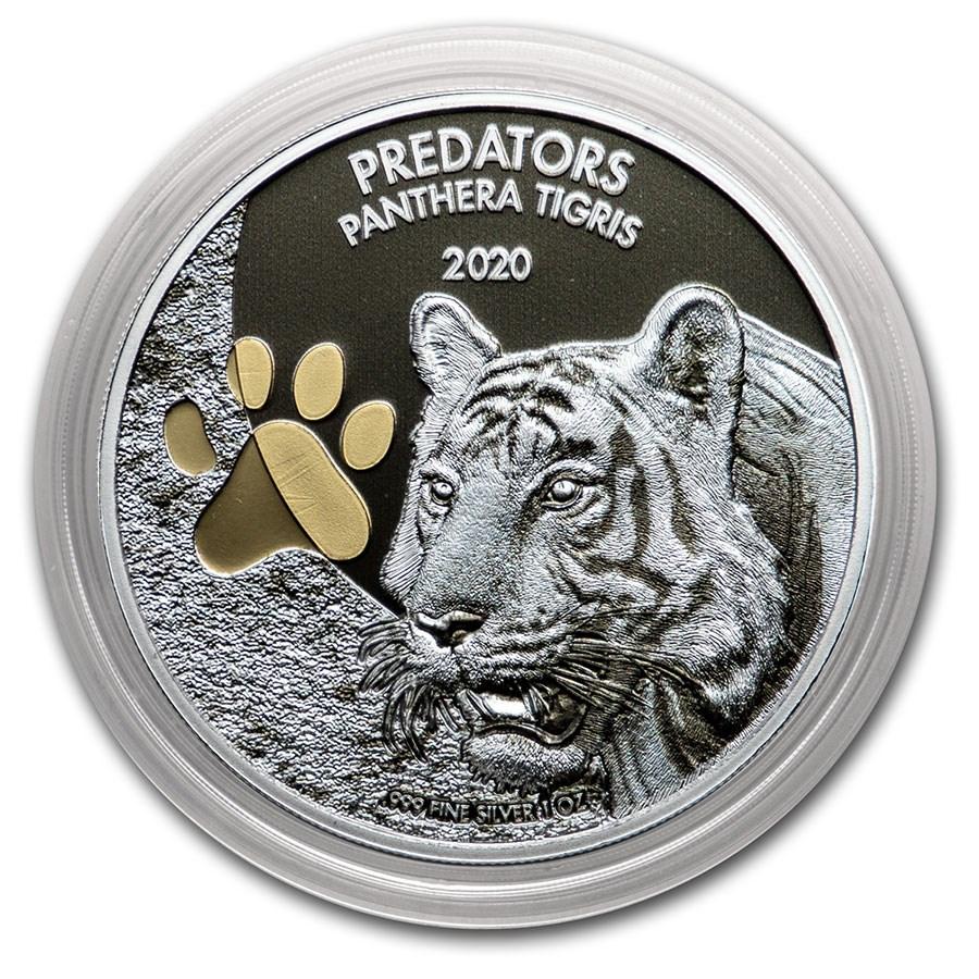 2020 Democratic Republic of Congo 1 oz Silver Tiger (Colorized)