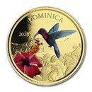 2020 Dominica 1 oz Gold Hummingbird (Colorized)