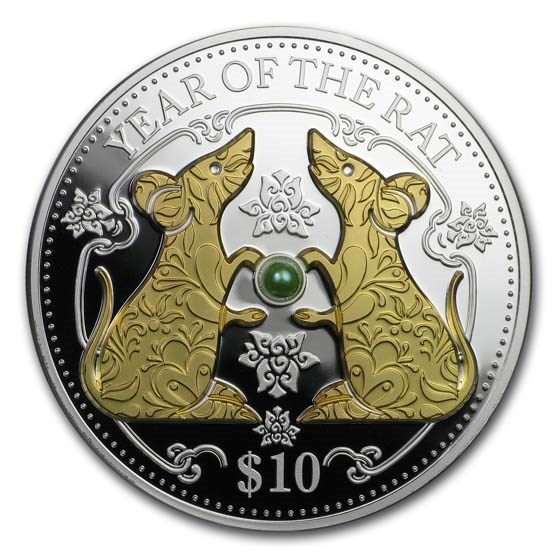 2020 Fiji 1 oz Silver Year of the Rat Proof (Gold Gilded w/Pearl)