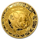 2020 France 1/4 oz Gold €50 Year of the Rat Proof (Lunar)