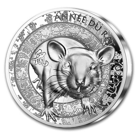 2020 France Silver €20 Year of the Rat High Relief Proof (Lunar)