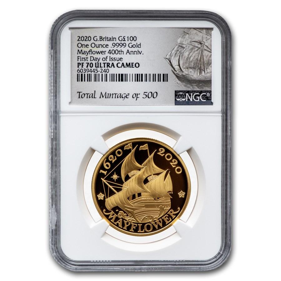 2020 GB £100 Gold 400th Anniversary of the Mayflower PF-70 NGC