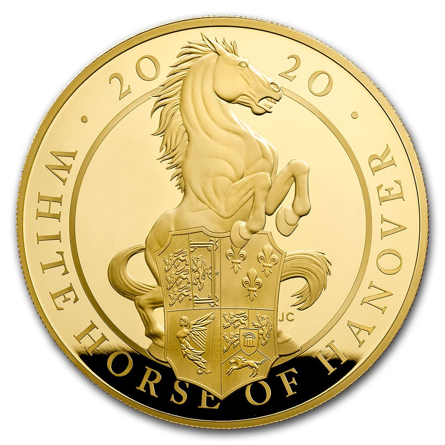 2020 GB 5 oz Gold Queen's Beasts White Horse Proof (Box & COA)