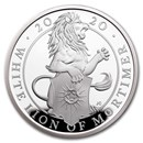 2020 GB Proof 1 oz Silver Queen's Beasts White Lion (w/Box & COA)