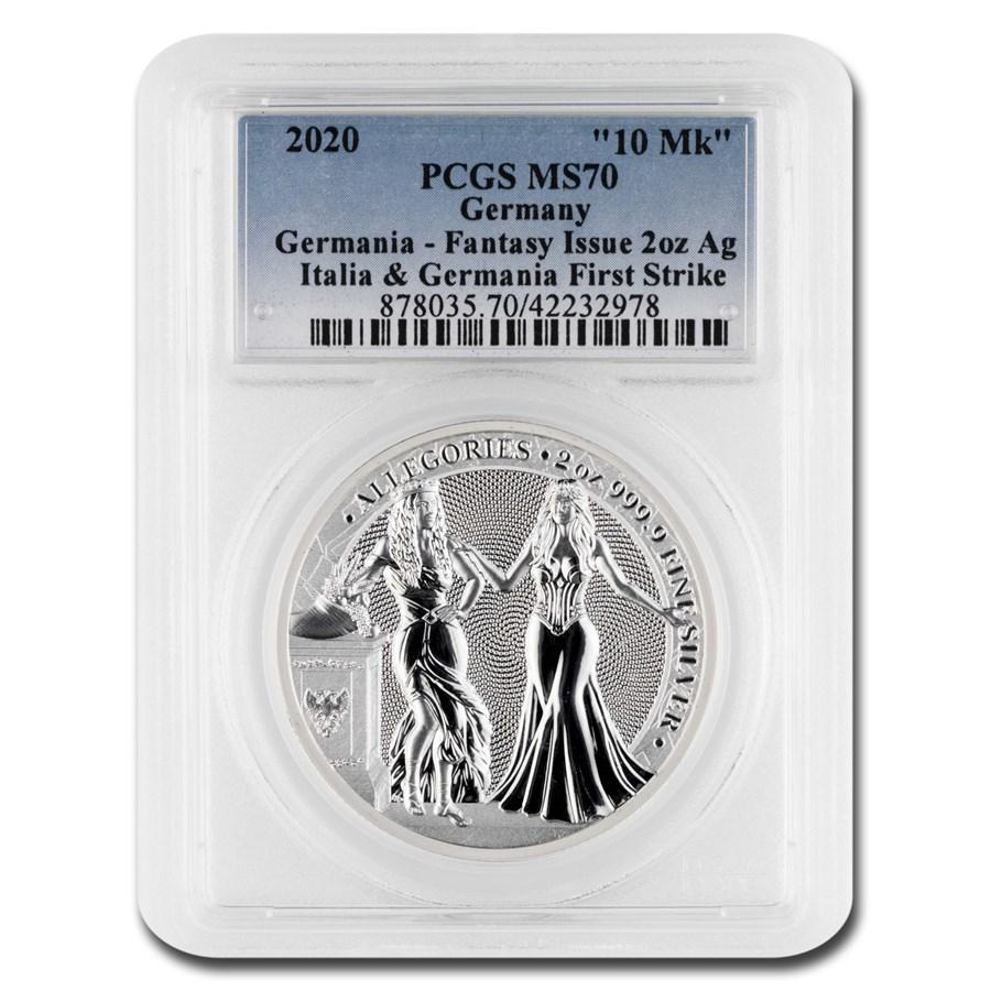 2020 Germania Allegories 2 oz Silver Round Italia MS-70 PCGS (FS)