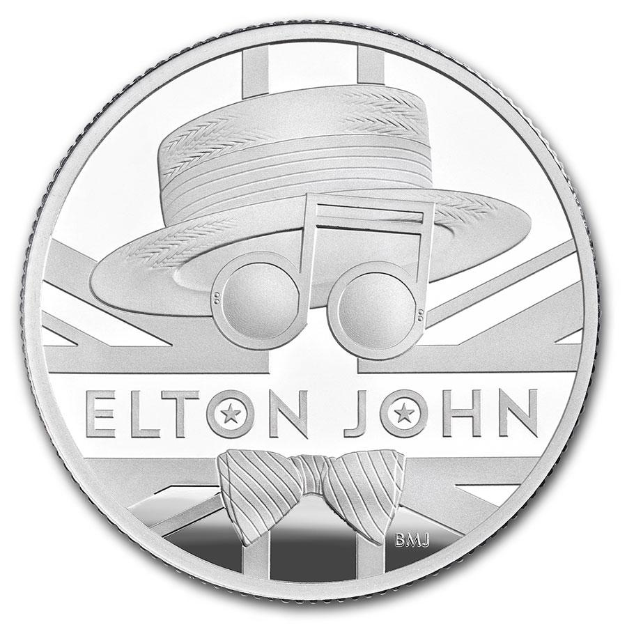 2020 Great Britain UK £2 Music Legends ELTON JOHN 1 oz Silver Proof Box COA #195