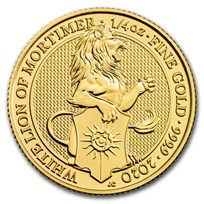 2020 Great Britain 1/4 oz Gold Queen's Beasts The White Lion