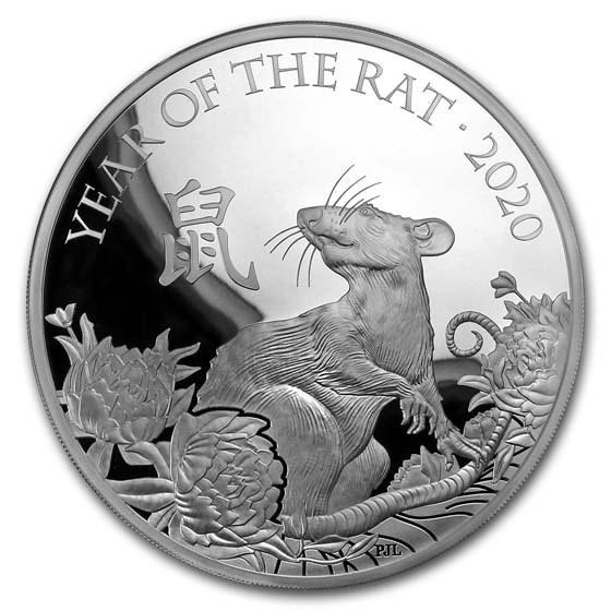 2020 Great Britain 1 kilo Silver Year of the Rat Prf (Box & COA)