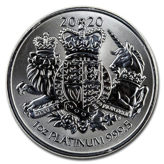 2020 Great Britain 1 oz Platinum The Royal Arms (Abrasions)