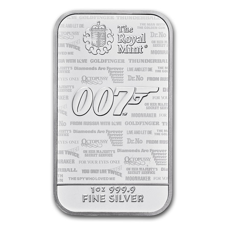 2020 Great Britain 1 oz Silver James Bond 007 Bar