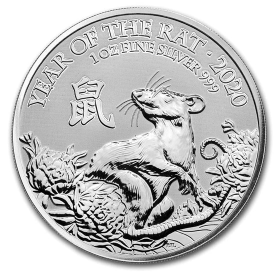2020 Great Britain 1 oz Silver Year of the Rat BU
