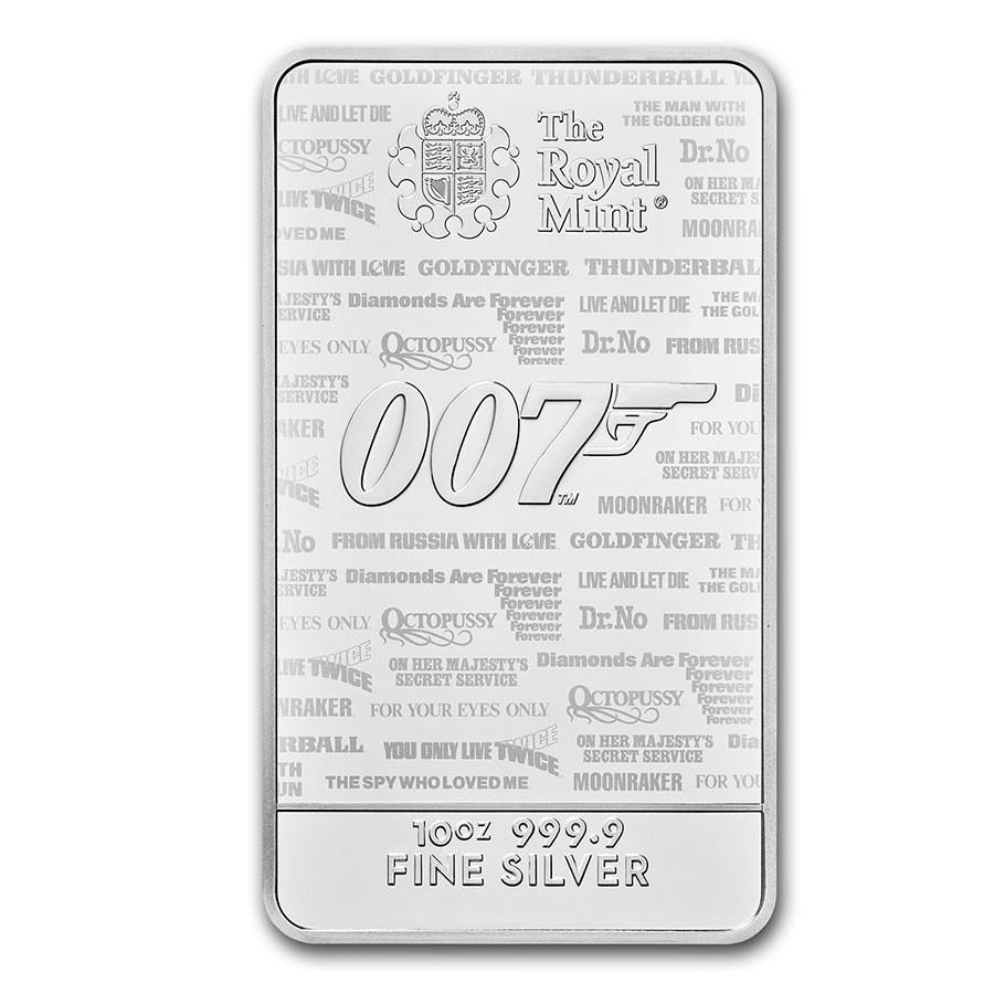 2020 Great Britain 10 oz Silver James Bond 007 Bar