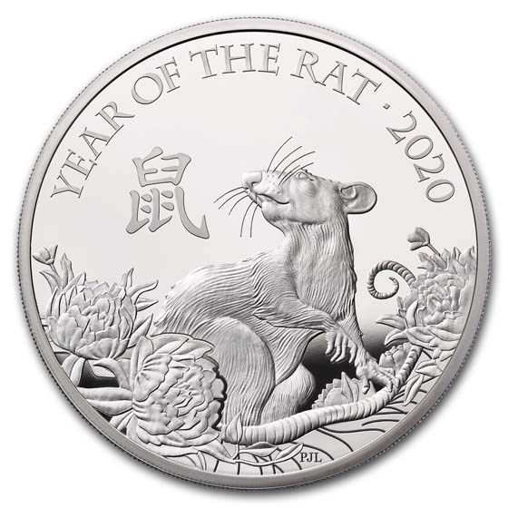 2020 Great Britain 5 oz Silver Year of the Rat Proof (Box & COA)
