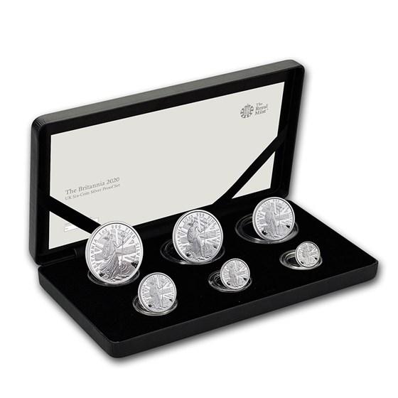2020 Great Britain 6-Coin Silver Britannia Proof Set