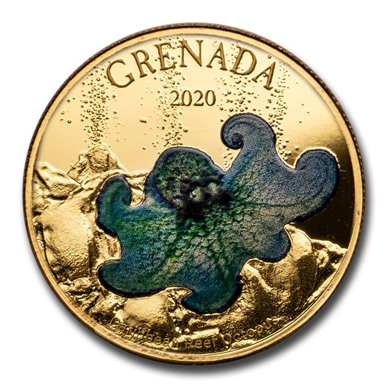 2020 Grenada 1 oz Gold Octopus (Colorized)