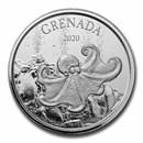 2020 Grenada 1 oz Silver Octopus BU