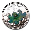 2020 Grenada 1 oz Silver Octopus Proof (Colorized)