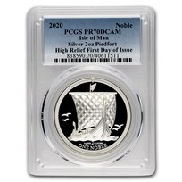 2020 Isle of Man 2 oz Silver Noble Piedfort PR-70 PCGS (FDoI)