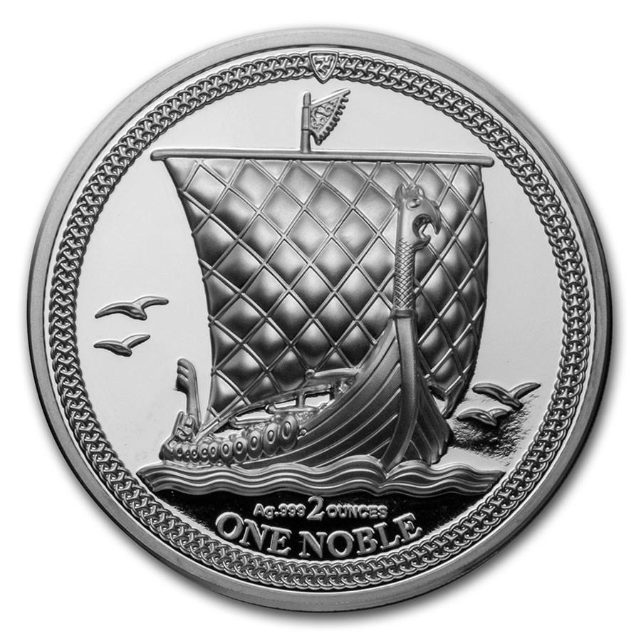 2020 Isle of Man 2 oz Silver Noble Piedfort Proof
