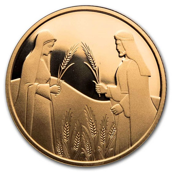 2020 Israel 1/2 oz Gold 10 NIS Ruth in Boaz's Field Proof