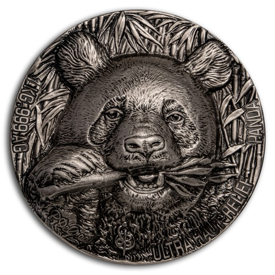 2020 Ivory Coast 1 kilo Silver Antique Haut Relief Panda