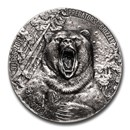 2020 Ivory Coast 3 oz Antique Silver Predators; Grizzly