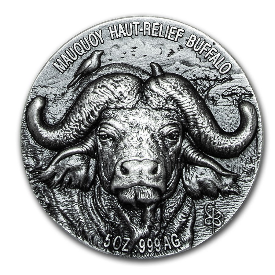 2020 Ivory Coast 5 oz Silver Mauquoy Haut Relief Water Buffalo