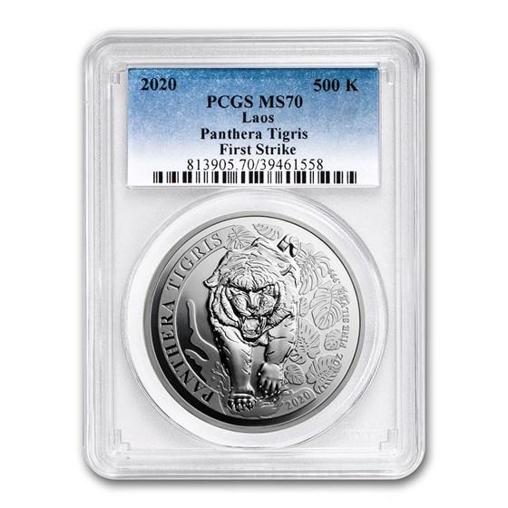 2020 Laos 1 oz Silver Tiger: Panthera Tigris MS-70 PCGS (FS)