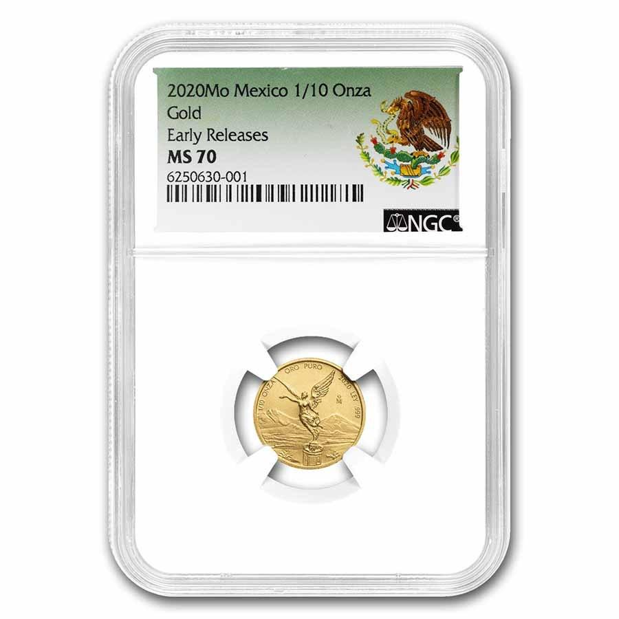 2020 Mexico 1/10 oz Gold Libertad MS-70 NGC (ER, Coat of Arms)