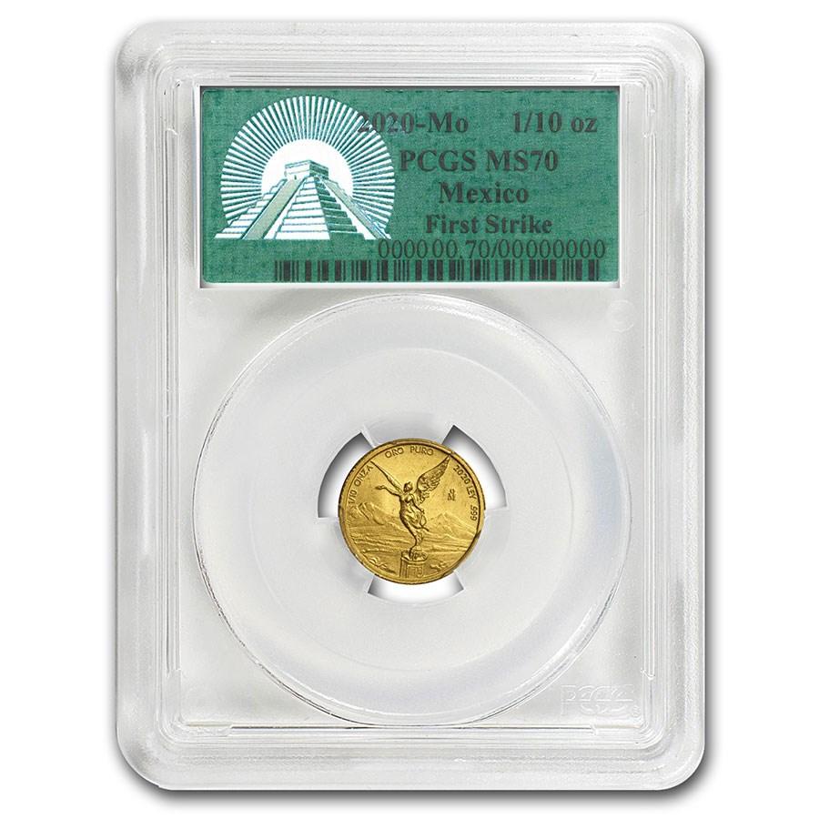 2020 Mexico 1/10 oz Gold Libertad MS-70 PCGS (FS, Green Label)