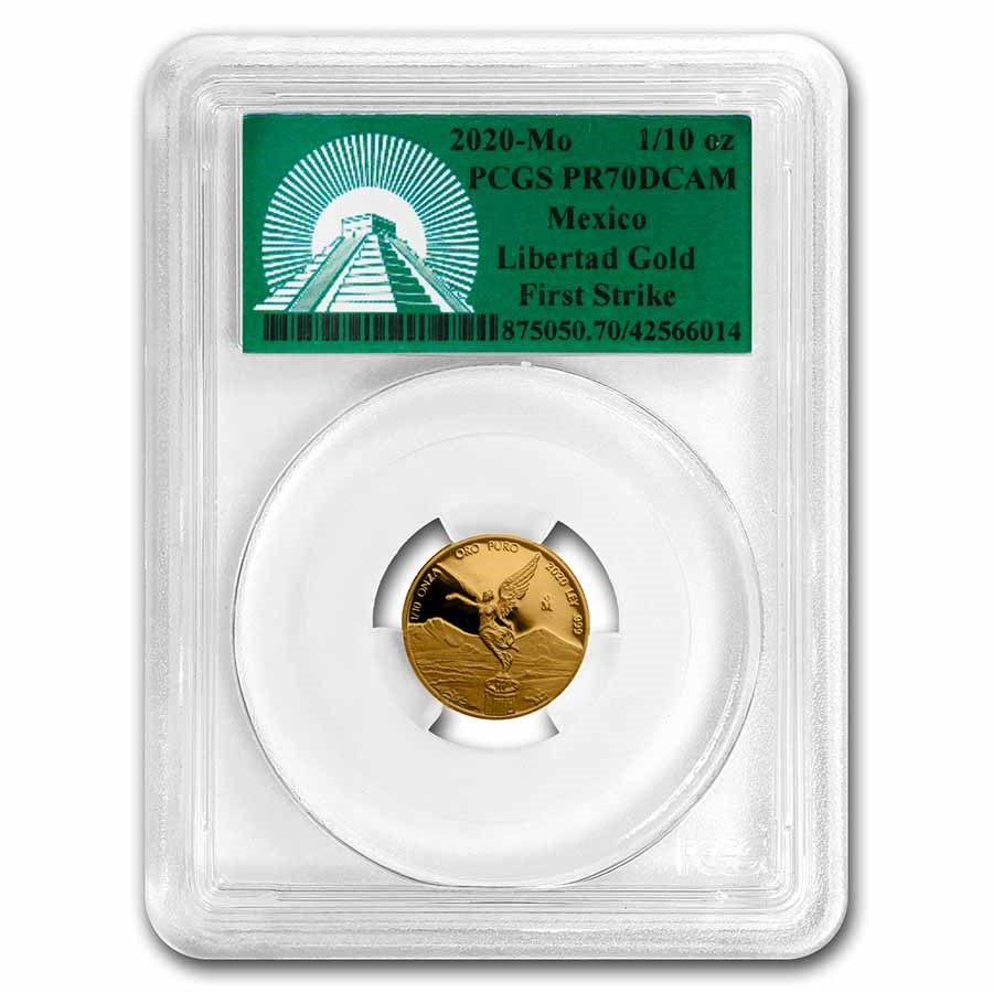 2020 Mexico 1/10 oz Gold Libertad PR-70 PCGS (FS, Green Label)